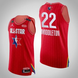 Bucks Khris Middleton #22 Game Authentic Red 2020 All-Star Jersey