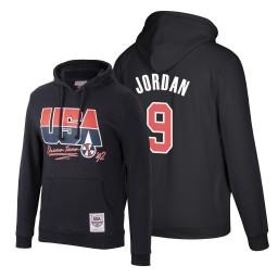 Team USA Michael Jordan #9 Black 1992 Dream Team Male Hoodie