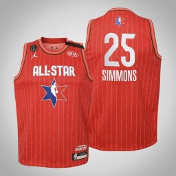 Youth Philadelphia 76ers Ben Simmons #25 Red Game 2020 All-Star Jersey