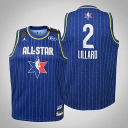 Youth Team LeBron Damian Lillard #2 Blazers Blue Game 2020 All-Star Jersey
