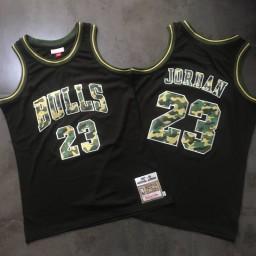 Michael Jordan #23 Camo Stitched 1997-98  Mitchell & Ness Hardwood Classics Black Jersey