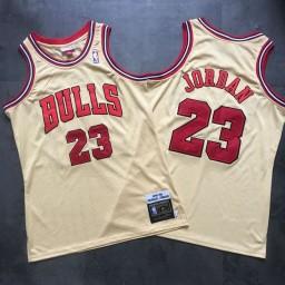 Michael Jordan #23 Chicago Bulls Mitchell & Ness 1995-96 Hardwood Classics Special Gold Jersey