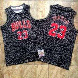 Michael Jordan #23 Red Stitched Chicago Bulls 1996-97 Hardwood Classics Black Crack Jersey