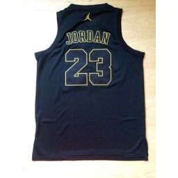 Michael Jordan #23 Stitched Black Gold Jersey - Commemorative Edition