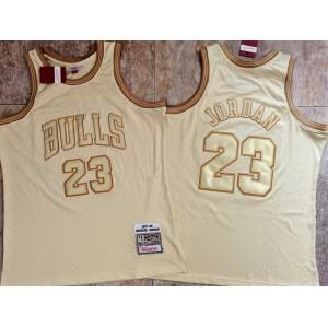 Michael Jordan #23 Stitched Chicago Bulls 1997-98 Hardwood Classics Jersey Beige