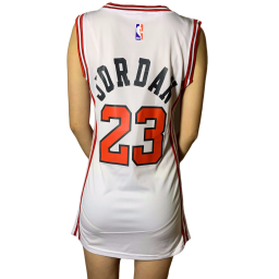 Women's Bulls #23 White One-piece Dress