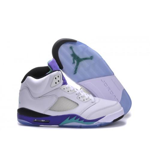 Air Jordan 5 (V) Retro Grape White New Emerald Grape Ice Blue Shoes