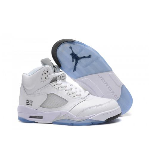 2015 Air Jordan 5 Retro White Metallic Silver Shoes