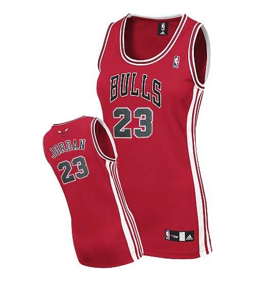 Michael Jordan Authentic Women's NBA Chicago Bulls Jersey #23 Red Road