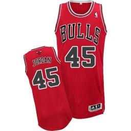 Michael Jordan Authentic Men's Jersey NBA Chicago Bulls #45 Red Road