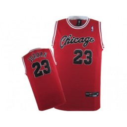 Michael Jordan Authentic Throwback Men's NBA Chicago Bulls Jersey #23 Red Crabbed Typeface