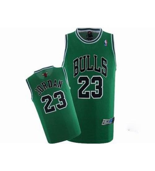 Michael Jordan Authentic Throwback Men's NBA Chicago Bulls Jersey #23 Green