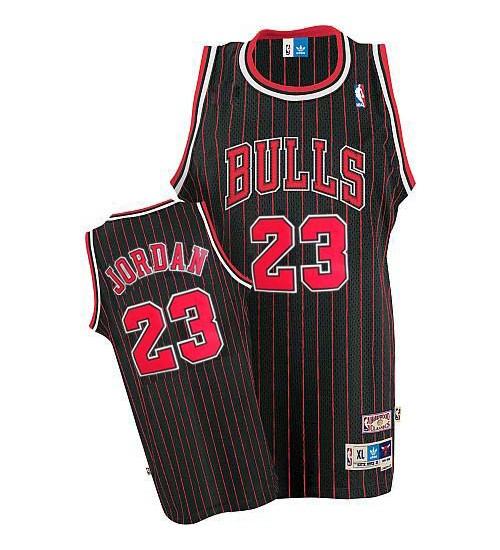 Michael Jordan Authentic Throwback Men's NBA Chicago Bulls Jersey #23 Black Red