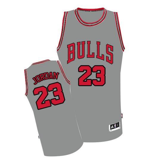 Michael Jordan Authentic Men's NBA Chicago Bulls Jersey #23 Grey