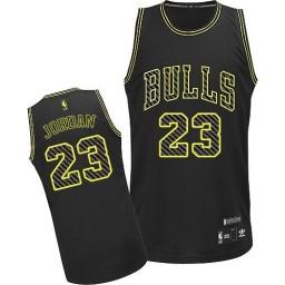 Michael Jordan Authentic Men's NBA Chicago Bulls Jersey #23 Black Electricity Fashion