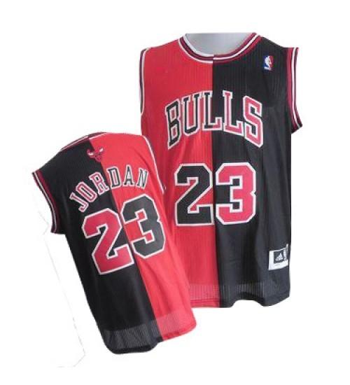 Michael Jordan Authentic Men's NBA Chicago Bulls Jersey #23 Black Red Split Fashion