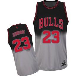 Michael Jordan Authentic Men's NBA Chicago Bulls Jersey #23 Black Grey Fadeaway Fashion