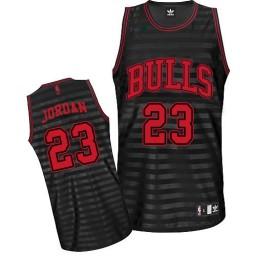 Michael Jordan Authentic Men's NBA Chicago Bulls Jersey #23 Black Grey Groove