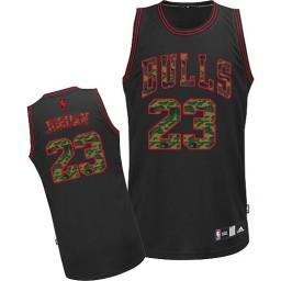 Michael Jordan Authentic Men's NBA Chicago Bulls Jersey #23 Black Camo Fashion