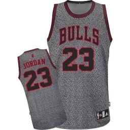 Michael Jordan Authentic Men's NBA Chicago Bulls Jersey #23 Grey Static Fashion