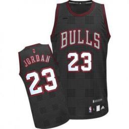 Michael Jordan Authentic Men's NBA Chicago Bulls Jersey #23 Black Rhythm Fashion