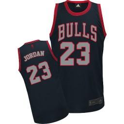 Michael Jordan Authentic Men's NBA Chicago Bulls Jersey #23 Black Graystone Fashion