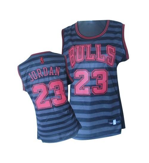 Michael Jordan Authentic Women's NBA Chicago Bulls Jersey #23 Black Grey Groove