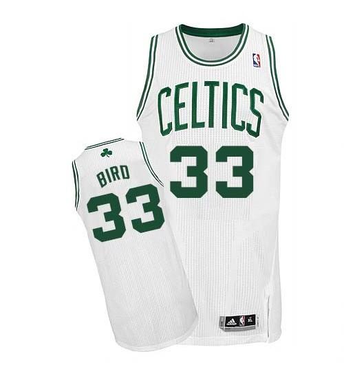 Larry Bird Authentic White Boston Celtics #33 Home Jersey