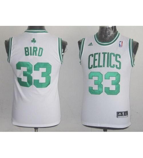 Larry Bird Authentic White Boston Celtics #33 Throwback Jersey