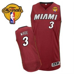 Dwyane Wade Authentic Red Finals Miami Heat #3 Alternate Jersey