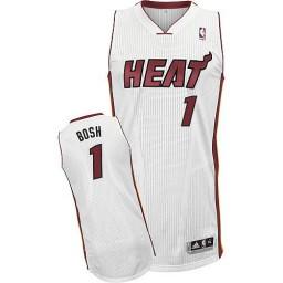 Chris Bosh Authentic White Miami Heat #1 Home Jersey