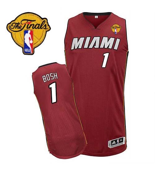 Chris Bosh Authentic Red Finals Miami Heat #1 Alternate Jersey