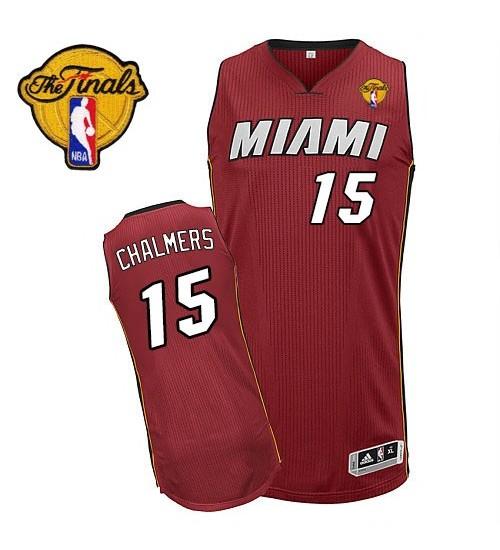 Mario Chalmers Authentic Red Finals Miami Heat #15 Alternate Jersey