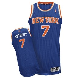 Carmelo Anthony Authentic Royal Blue New York Knicks #7 Road Jersey