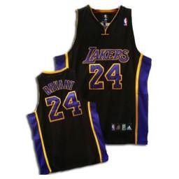 Kobe Bryant Authentic Black Purple Los Angeles Lakers #24 Jersey