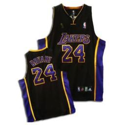 Kobe Bryant Authentic Black Purple Champions Los Angeles Lakers #24 Jersey