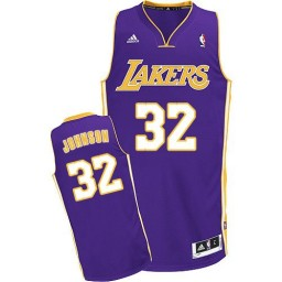 Magic Johnson Swingman Purple Los Angeles Lakers #32 Road Jersey