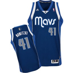 Dirk Nowitzki Swingman Navy Blue Dallas Mavericks #41 Alternate Jersey