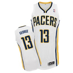 Paul George Authentic White Indiana Pacers #13 Home Jersey