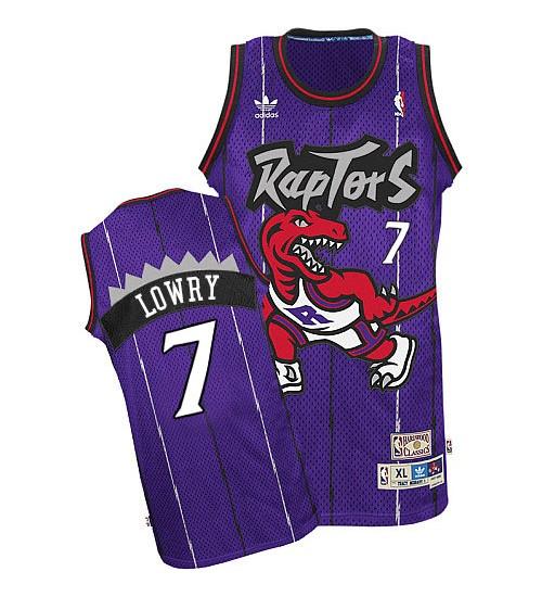 Kyle Lowry Authentic Purple Toronto Raptors Hardwood Classics #7 Throwback Jersey