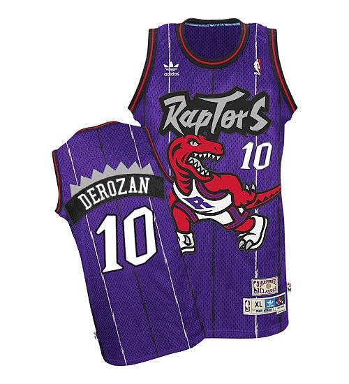 DeMar DeRozan Authentic Purple Toronto Raptors Hardwood Classics #10 Throwback Jersey