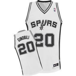 Manu Ginobili Authentic White San Antonio Spurs #20 Home Jersey