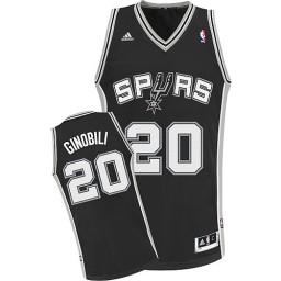 Manu Ginobili Swingman Black San Antonio Spurs #20 Road Jersey