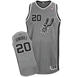Manu Ginobili Authentic Silver Grey San Antonio Spurs #20 Alternate Jersey