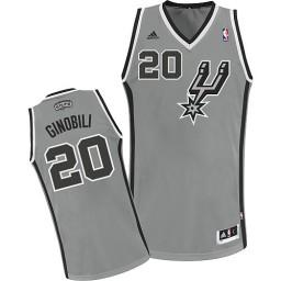 Manu Ginobili Swingman Silver Grey San Antonio Spurs #20 Alternate Jersey