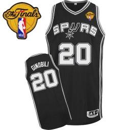 Manu Ginobili Authentic Black Finals San Antonio Spurs #20 Road Jersey