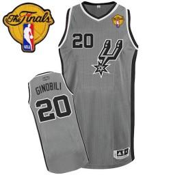 Manu Ginobili Authentic Silver Grey Finals San Antonio Spurs #20 Alternate Jersey