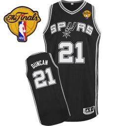 Tim Duncan Authentic Black Finals San Antonio Spurs #21 Road Jersey