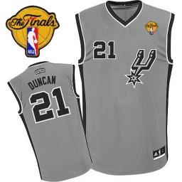 Tim Duncan Authentic Silver Grey Finals San Antonio Spurs #21 Alternate Jersey