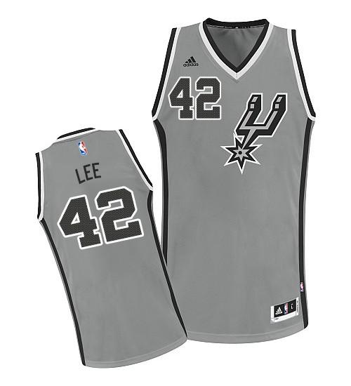 David Lee Swingman Silver Grey San Antonio Spurs #42 Alternate Jersey